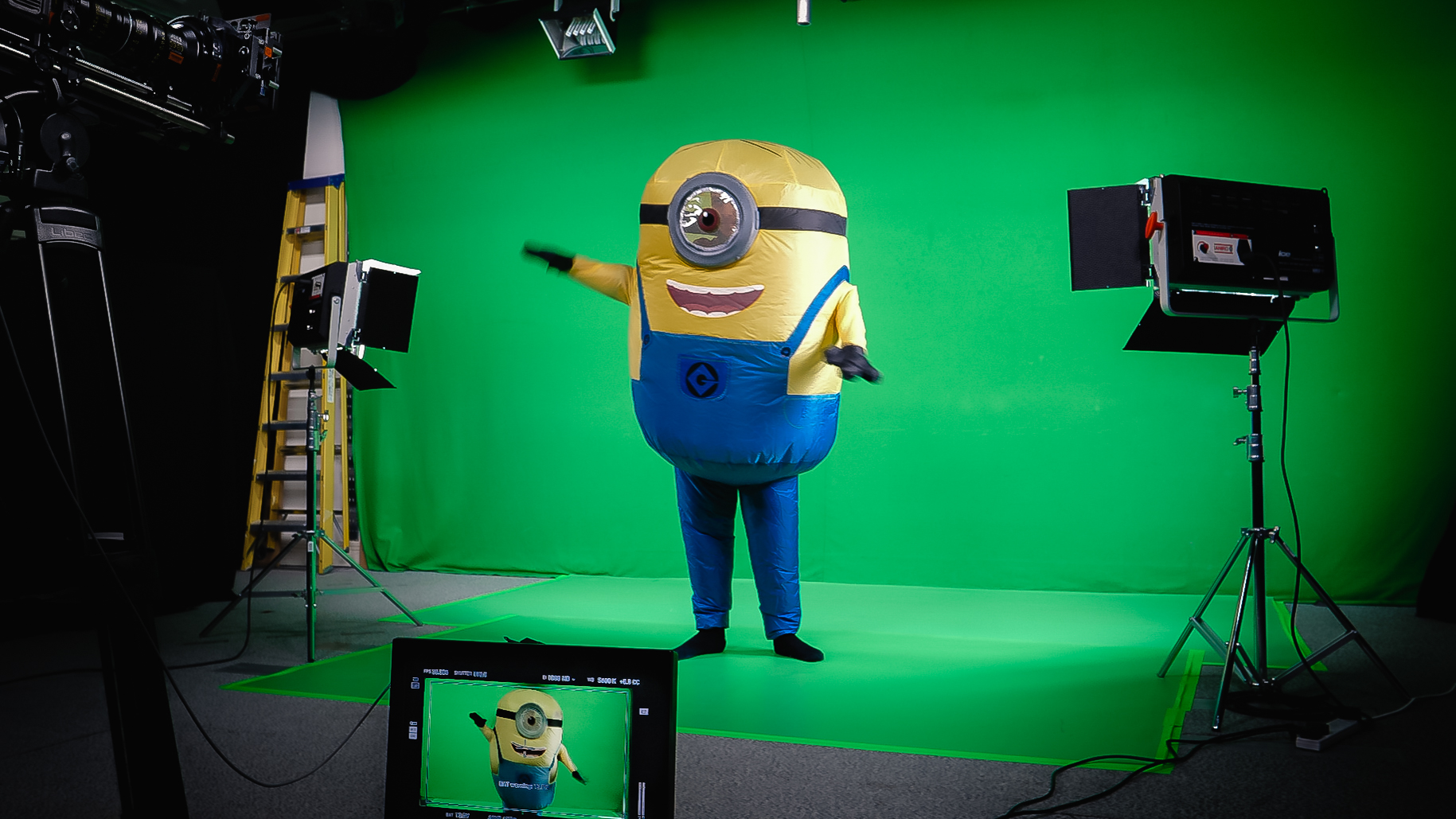 Green Screen Studio at IQ Studios with Stuart Minion, lighting and monitor.