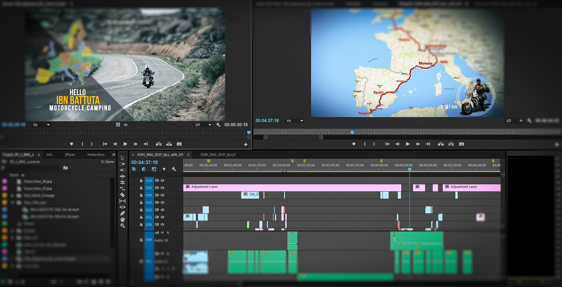 Editing of Broadcast Travel Documentary at IQ Studios.