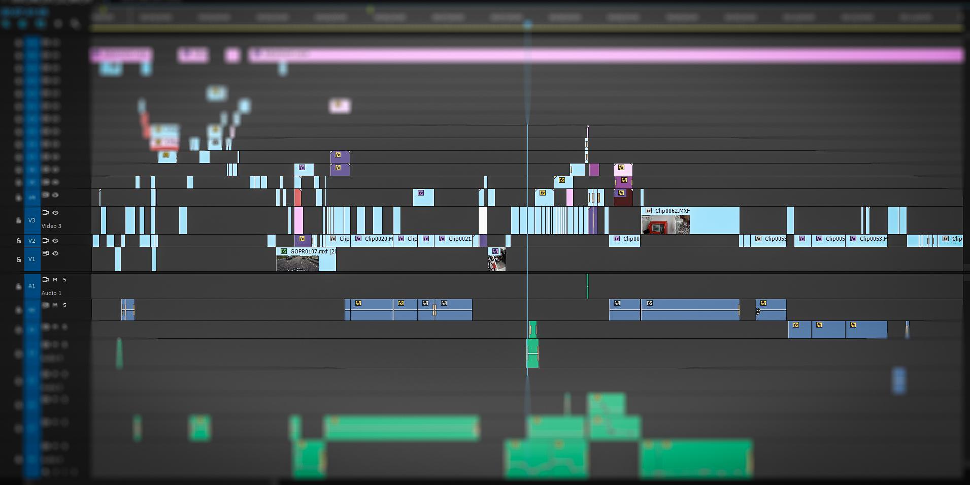 Editing timeline of multi camera shoot at IQ Studios.